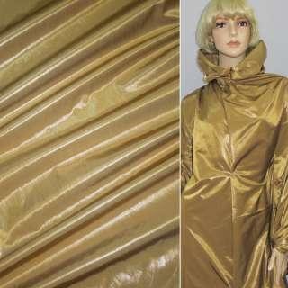 Ткань плащевая горчично-золотистая жатая без основы, ш.150 оптом