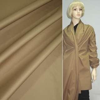 Ткань плащевая коричневая светлая на трикотажной основе ш.150 оптом