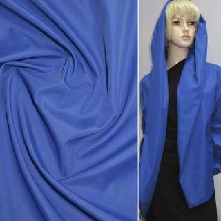 Ткань плащевая синяя на трикотажной основе ш.150 оптом