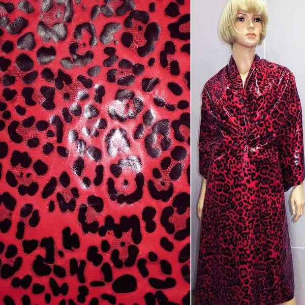 """плащевка красная с черным  """"леопард"""" ш.150 оптом"""