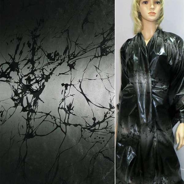 Ткань плащевая серая с черной абстракцией ш.150 оптом