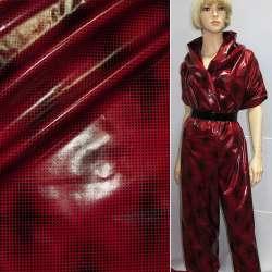 Ткань плащевая красная в черный горох ш.150 оптом