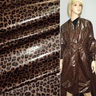 """ткань плащевая св/коричневая с черным """"леопард"""" ш.150 оптом"""