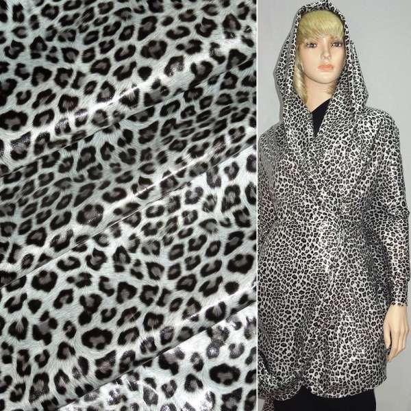 """ткань плащевая молочная с черным """"леопард"""" ш.150 оптом"""