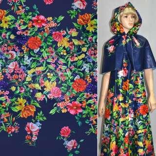 Тканина плащова тонка синя з різнокольоровими квітами ш.150 оптом