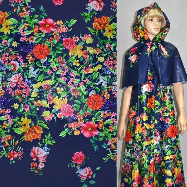 плащевка тонкая синяя с разноцветн. цветами ш.150 оптом
