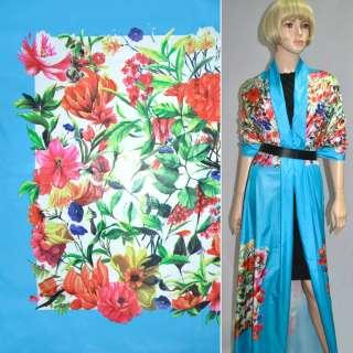 Тканина плащова блакитна з різнокольоровими квітами (рапорт) ш.150 оптом