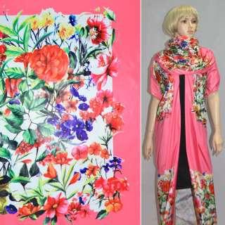 Тканина плащова рожева з різнокольоровими квітами (рапорт) ш.150 оптом