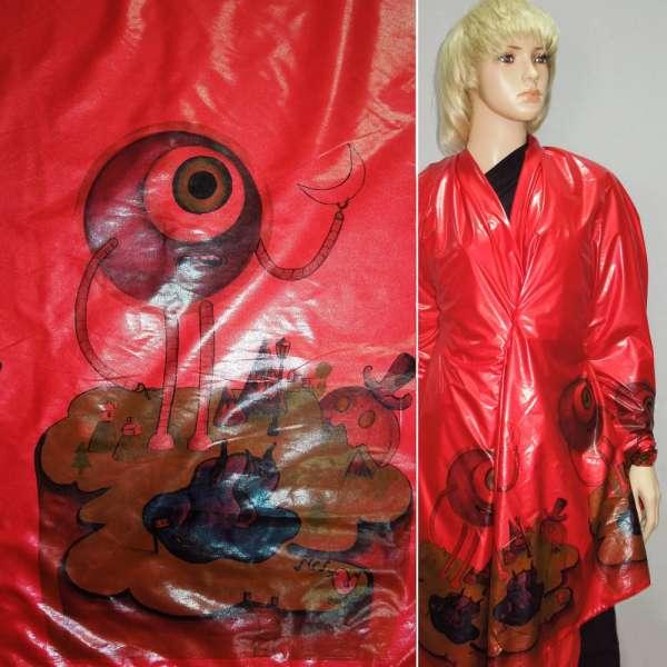плащевка красная с 2-х стор. цвет. купоном ш.145 оптом