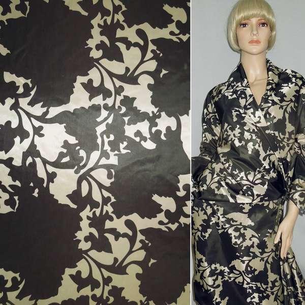 ткань плащ. камуфляж в коричневые цветы, ш.150 оптом