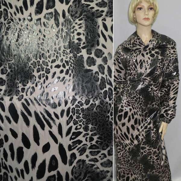 """плащевка песочная и черный """"леопард"""" шир. 145 см. оптом"""
