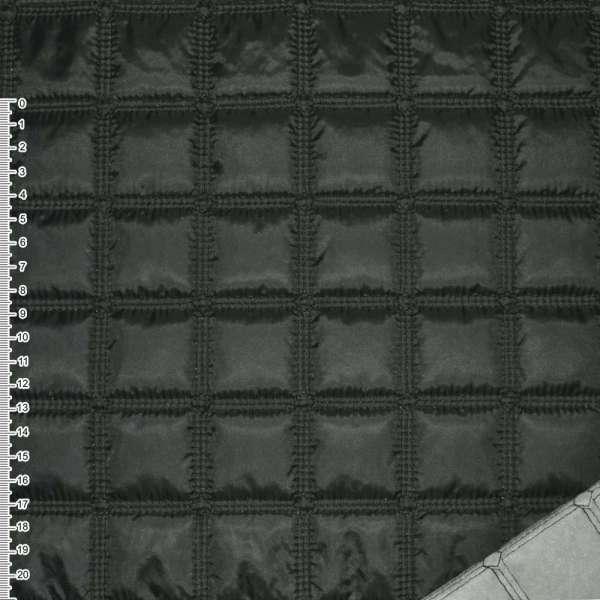 """ткань плащевая стеган. черная матовая """"квадраты"""" ш.143 оптом"""