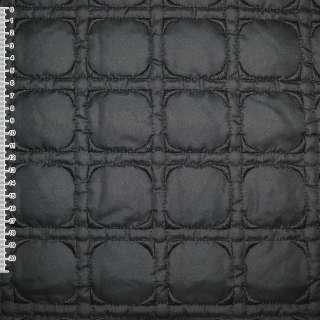 плащевка стег.черная с выш. квадратами, ш.150 оптом