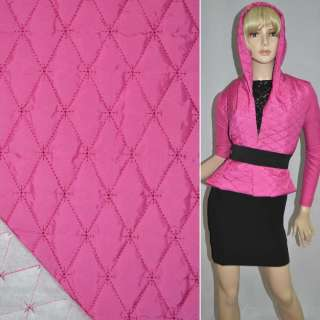 """ткань плащевая стеган. розово-малиновая матовая """"ромбы"""" ш.150 оптом"""