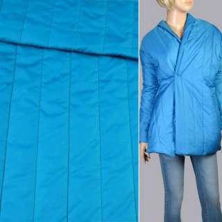 Тканина плащова стеганая блакитна матова смужка (5 см), ш.150 оптом