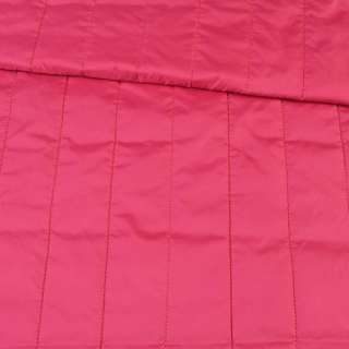 ткань плащевая стеганая малиновая матовая полоска (5 см), ш.150 оптом