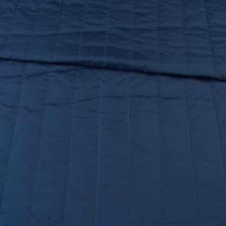 Тканина плащова стеганая синя темна матова смужка (5 см), ш.145 оптом