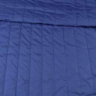 Тканина плащова стеганая синя матова смужка (5 см), ш.145 оптом