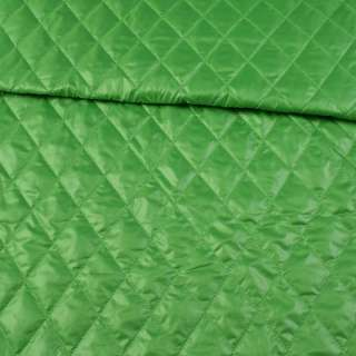 Ткань плащевая стеганая зеленая ромбы ш.150 оптом
