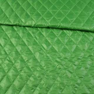 Тканина плащова стеганая зелена ромби ш.150 оптом
