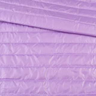 Тканина плащова стеганая бузкова на підкладці смужка 5см, ш.150 оптом