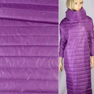 Ткань плащевая стеганая лиловая на подкладке полоска 5см, ш.150 оптом