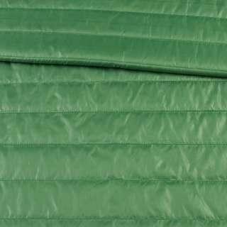 Тканина плащова стеганая зелена на підкладці смужка 5см, ш.150 оптом