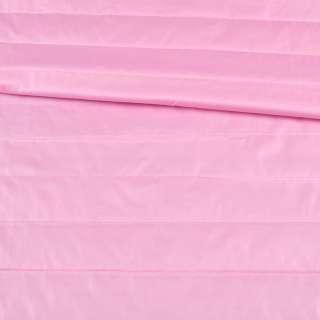 Тканина плащова стеганая рожева на підкладці смужка 5см, ш.150 оптом