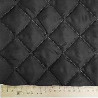 Тканина підкладкова термостьобана чорна (синтепон 100), ш.150 оптом