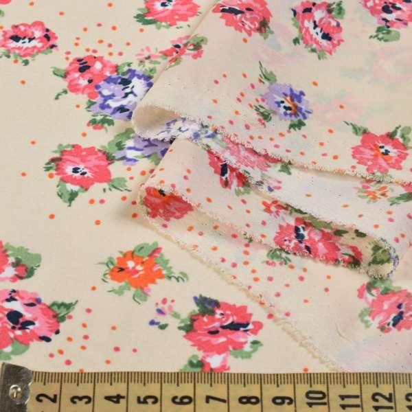 Креп поплин кремовый с розовыми букетами цветов ш.150 оптом