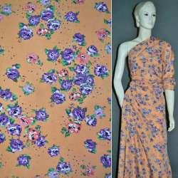 Креп поплин оранжевый с розово фиолетовыми цветами ш.150 оптом