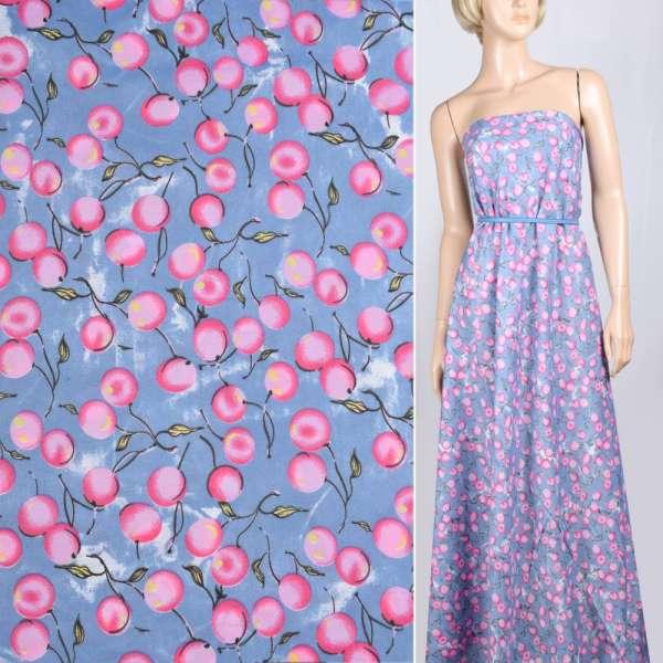 Поплин светло синий с розовыми ягодами ш.150 оптом