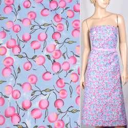 Поплин бледно голубой с розовыми ягодами ш.150 оптом