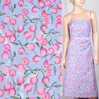 Поплін блідо блакитний з рожевими ягодами ш.150 оптом