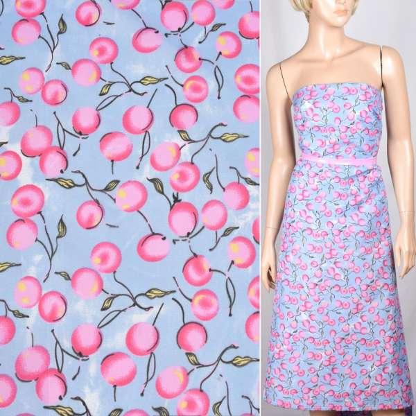 Поплин бледно-голубой с розовыми ягодами ш.150 оптом
