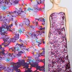 Поплин фиолетово белый с малиновыми цветами ш.150 оптом
