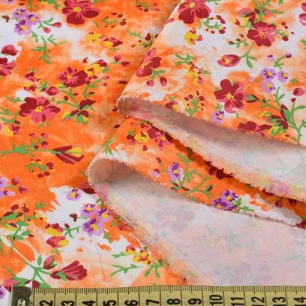 Поплин оранжево белый с бордовыми цветами ш.150 оптом