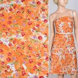Поплин оранжево-белый с бордовыми цветами ш.150