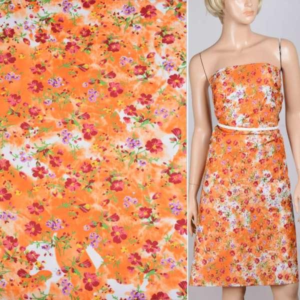 Поплин оранжево-белый с бордовыми цветами ш.150 оптом