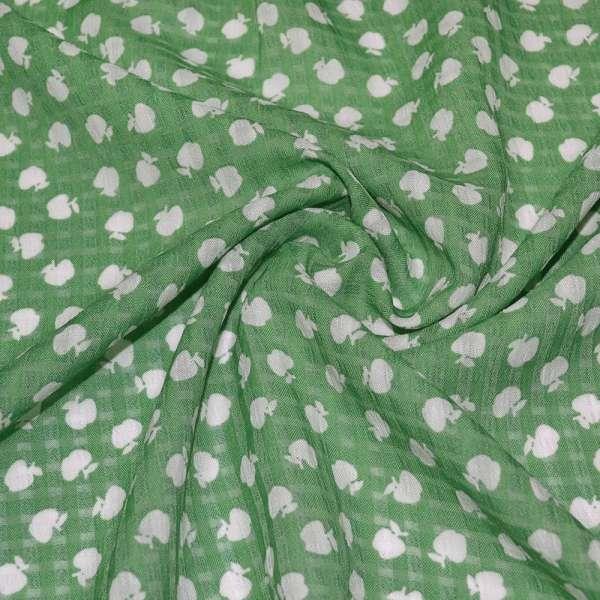 Поплин структурный зеленый в белые яблоки ш.150 оптом