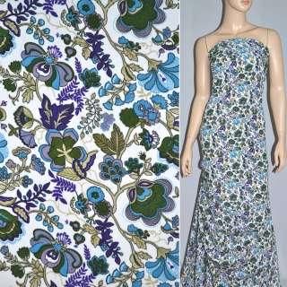Поплин белый в фиолетово голубые цветы ш.145 оптом