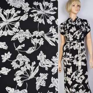 Поплин черный в белые большие цветы ш.147 оптом