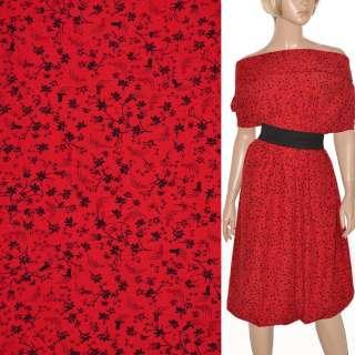 Поплин красный с черными цветами ш.150 оптом