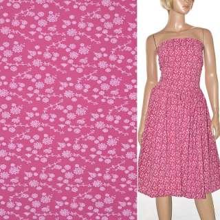 Поплин ярко розовый с белыми цветами ш.150 оптом