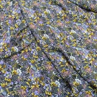 Поплин диллон серый в фиол. желтые цветы+абстр. ш.150 оптом