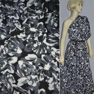 Поплин диллон черный в серо белые цветы ш.150 оптом