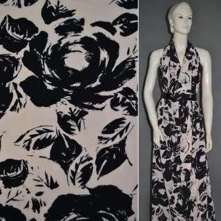 Поплин диллон черно персиковый с розами ш.150 оптом