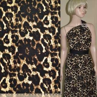 Поплин диллон темно коричневый принт леопард ш.145 оптом