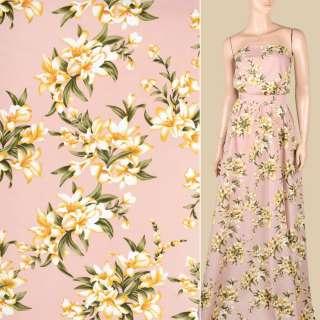 Поплин фрезовый, бежево-белые лилии, ш.150 оптом