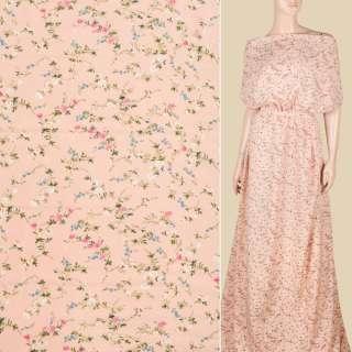 Поплін персиковий, дрібні трояндочки, ш.151 оптом